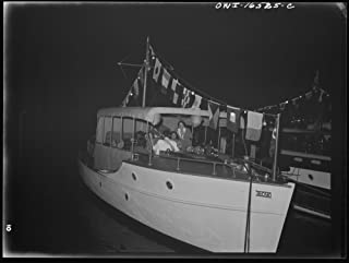Historic Photos Detroit, Michigan. A Venetian Night Party at The Detroit Yacht Club, Whose Members Represent The wealthier Class of Manufacturers and Their Friends. Typical Cabin Cruiser at Night
