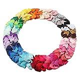 40 Stück 3' Kleine Haarschleifen Haarbögen, Mehrfarbig Haarspangen Schleife, Haarklammern mit Krokodilklemmen und Ripsband Bögen, Haarspange Haarschmuck für Baby Mädchen Kleinkinder