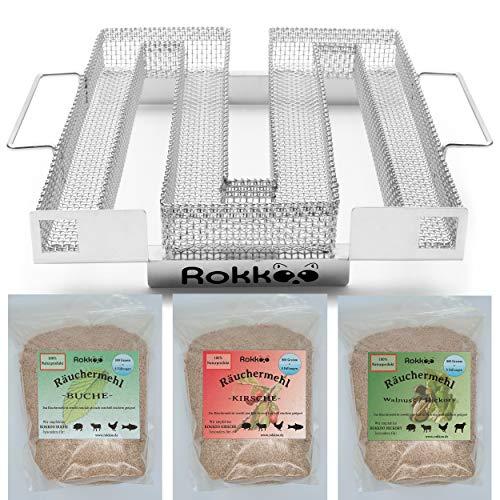 ROKKOO Kaltrauchgenerator Starterset mit Räuchermehl 800 Gramm Buche, Kirsche oder Hickory, Sparbrand Räucherschnecke mit Rezeptbuch E-Book + Gebrauchsanweisung