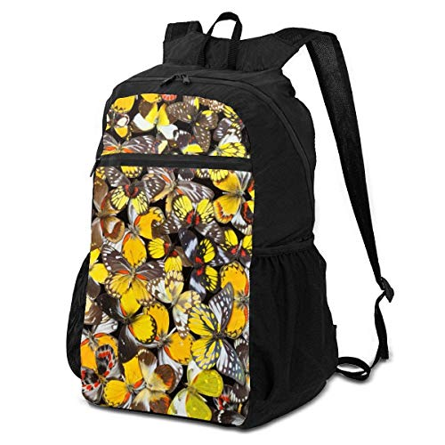 Lawenp Lightweight Hiking Backpack, Large Capacity, Foldable Travel Daypack Suitable for Unisex, Berry Flowers