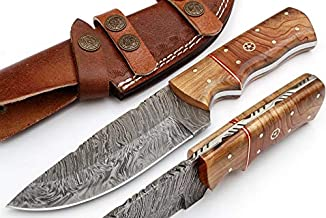 Handmade Damascus Steel Hunting Knife Fix Blade Bowie Knife 9 Inches with Leather Sheath G-127 OW