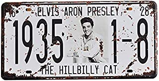 Elvis Aron Presley National Celebrity Car License Plate Car Number Vintage Metal Signs Tin Plaque Wall Poster for Garage Man Cave Cafe Bar Pub Club Beer Patio Wall Decoration