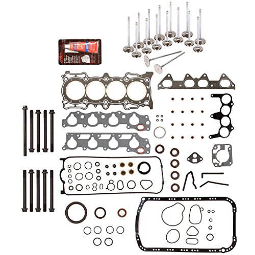 Evergreen FSHBIEV4013GHP Full Gasket Set Head Bolts High Performance Intake Exhaust Valves Compatible With 94-97 2.2L Acura CL Honda Accord EX Vtec SOHC F22B1