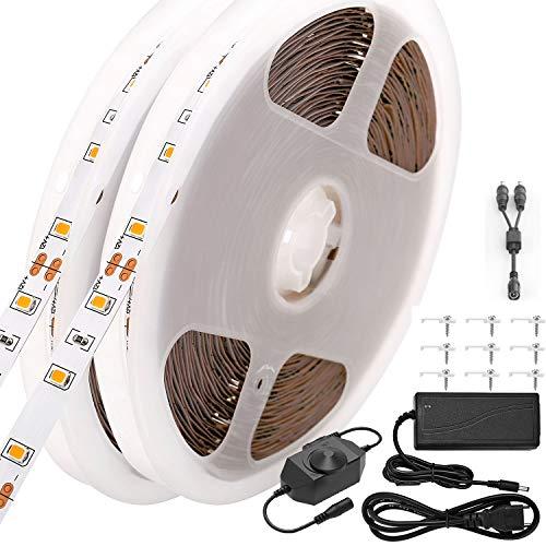CPROSP LED Tira de luz Regulables(0~100{84ce829803836a8e001add3c5a8cb30f95ff1e883918f745295d812f866add1d}) 20M Blanco Cálido LED Cinta de Luz 1200leds SMD 2835 LED Strip con 12V Adaptador de Corriente para Decoracion Interior y Fiesta