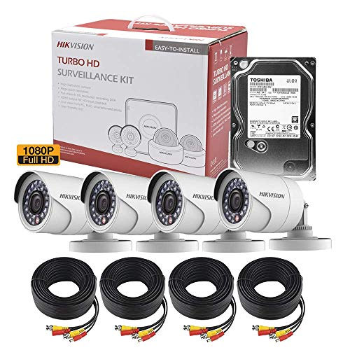 Hikvision Kit CCTV De 4 Cámaras Tipo Bala TurboHD 1080p + HDD 1TB