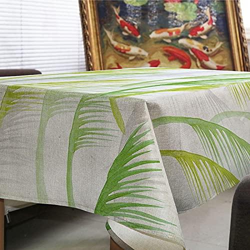 Mantel Minimalista nórdico, Mantel Rectangular de Lino con Estampado de Hojas Verdes, Juego de Mesa de Comedor de Cocina, Textil Y 140x180cm