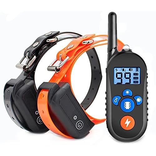 LPWCAWL Anti-Bell-Gerät,tragbarer Stoppen des Hundegebells,USB Wiederaufladbares Bark Control Abschreckungs,Sicheres Hundehalsband Mit Fernbedienung 800m Reichweite, 2 Collars