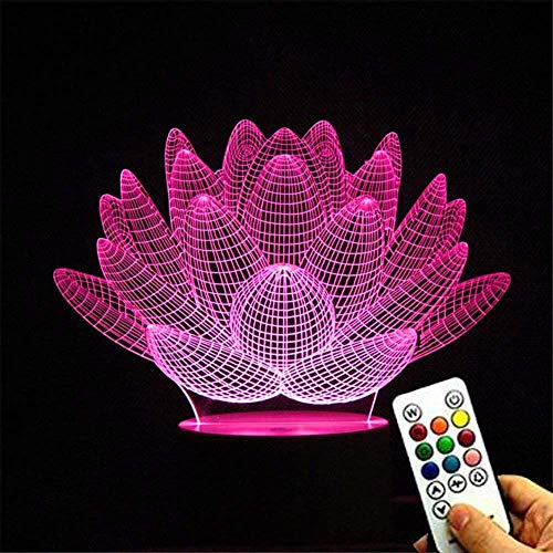 Deerbird® Unique Succulent Plant Shape Lotus 3D Optical Illusion 7 Colors Changing Touch White Base Usb Remote Control Desk Lamp Lamp Nightlight With Keys Controller