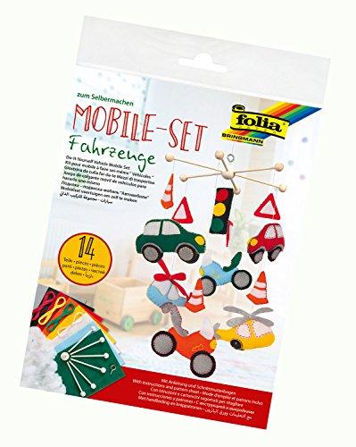 folia 22879 - Mobile Set Fahrzeuge zum Selbermachen, mit 14 Teilen, Anleitung und Schnittmusterbogen - Komplettset zur Erstellung eines Mobiles