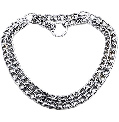 GUXL Dog Martingale Pinch Choke Collar - Heavy Duty Titan Training Slip P Chain Dog Collar - Adjustable 2 Row Chrome for Small Medium and Large Dogs (XL-24, Suitable for neck19-22)