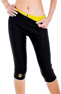 発汗シェイプスパッツ 下半身ダイエット 脂肪燃焼 コンプレッション サウナスーツ フィットネス トレーニングパンツ 太もも 痩せ レディース 5分丈 (S(ウエスト:64-75CM ヒップ:80-95CM 着丈:56CM), ブラック)