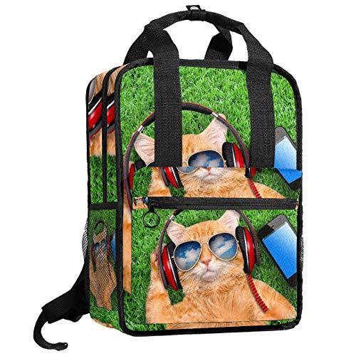 TIZORAX Rucksack für Damen, rote Sonnenbrille, Katze spielt Gitarre, für Teenager, Mädchen, Jungen, Schule, College, Büchertasche, Handtasche, gepolstert, zum Wandern, Reisen, lässiger Tagesrucksack