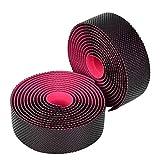 Eddwiin Cinturón de Manillar de Bicicleta Cinturón de Manillar de Bicicleta de Carretera Cinta de dirección de absorción de Sudor Suave de Alta Elasticidad(Negro Rosa)