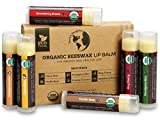USDA Organic Lip Balm 6-Pack by Earth's Daughter - Fruit Flavors, Beeswax, Coconut Oil, Vitamin E -...