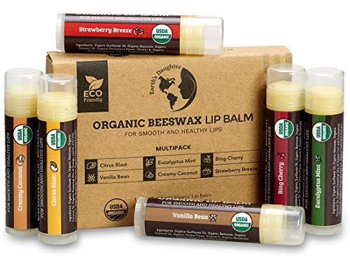 USDA Organic Lip Balm 6-Pack by Earth's Daughter - Fruit Flavors, Beeswax, Coconut Oil, Vitamin E - Best Lip Repair Chapstick for Dry Cracked Lips.