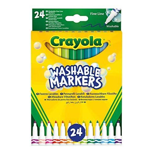 Crayola-24 Pennarelli Lavabili, Punta fine, Assortiti, per Scuola e Tempo Libero, Colore, 58-6571