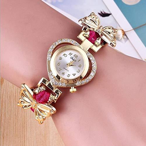 Zhouzl Outdoor Sports Accessories Reloj de Pulsera de Mariposa de Acero Inoxidable con Esfera en Forma de corazón y Diamantes Outdoor Sports Accessories (Color : Rose Red)