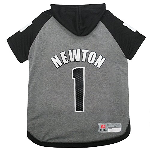 NFLPA Cam Newton Hoodie for Dogs & Cats. NFL Carolina Panthers Dog T-Shirt, Large | Sports Hoody Tee Shirt for Pets | Licensed Sporty Dog Shirt