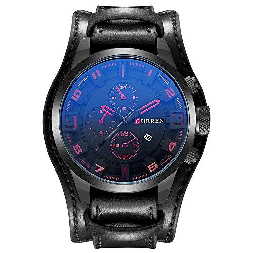 Herren Uhr KZKR Leder Armbanduhr Analog Quarz Uhren Braun Schwarz Herrenuhr mit Datum Funktion (Schwarz)