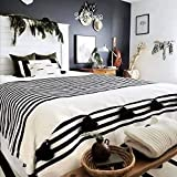 SugaRugs Moroccan Pom Pom Blanket Throw for Sofa or Bed - Hand Woven Coton - Reversible - Small, Medium, Large in White & Black Stripes and Large Black Pom Pom (Small - 59 in x 59 in)
