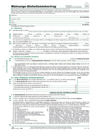 RNK Mietvertrag für Wohnungen Standard/Einheit/599/10 DIN A4 4-seitig Inh.10