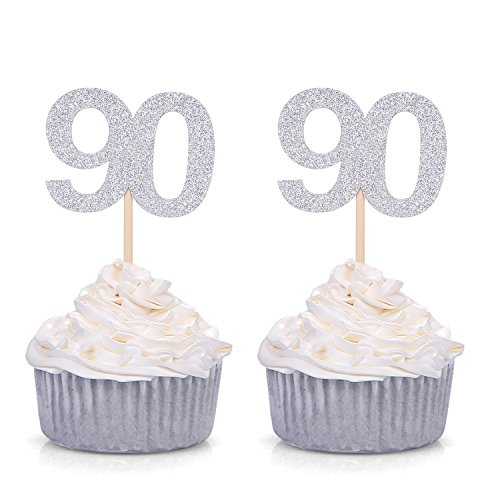 Set of 24 90th Birthday Cupcake Toppers - Silver or Gold