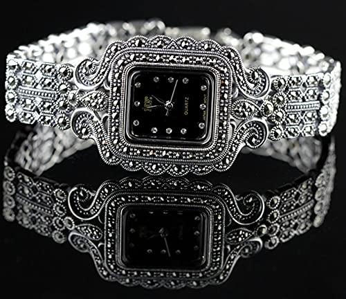 CHXISHOP Reloj de pulsera retro gótico negro para mujer, movimiento de cuarzo 925 reloj de plata de ley con incrustaciones retro reloj de diamante negro-17.5cm