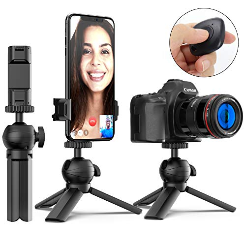 Phone Tripod, MiiKARE Portable and Adjustable Camera Tripod Stand with Wireless Remote Controller Universal Clamp 360 Degree Rotating Mini Tripod Kit Compatible with Camera iPhone Android Phones