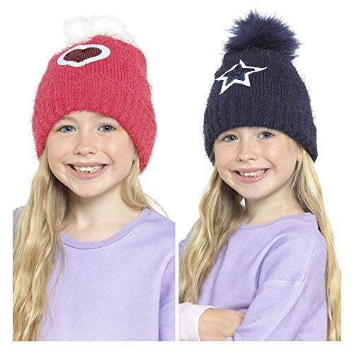 2 Pack Girls Bobble Heart/Star Sequin Hat GL921 Red/Navy 3-5 Years
