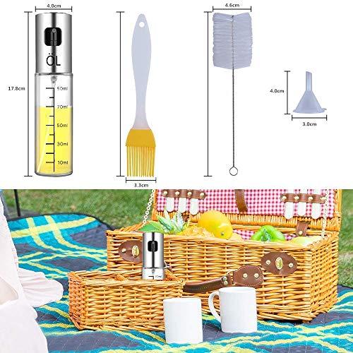 Ookistoreオイルスプレーミスト油容器オイル差し調味料入れ100mlガラス油/醤油/調味料/アルコールなど適用クリンニングブラシ漏斗料理ブラシ付き