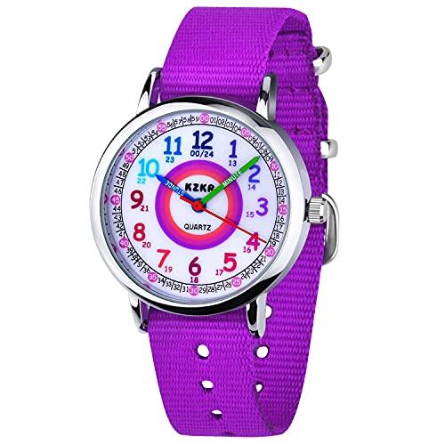 KZKR orologio bambina Orologio da polso per bambini,nylon,al quarzo, analogico,facile da leggere,colore: lilla