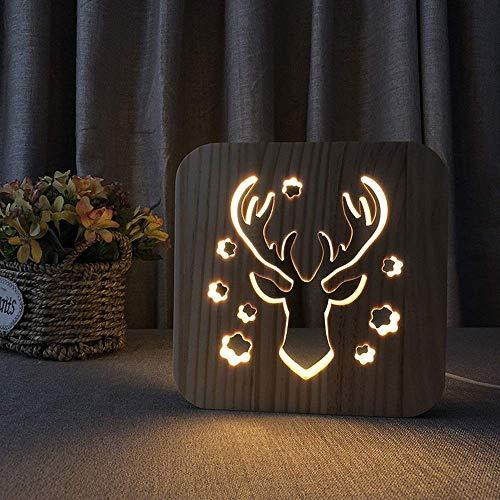 ViewSys Elk Ciervos Noche Jefe de luz LED 3D Creativo Hueco Decorativo Lámpara de Mesa de Madera Dormitorio USB del Sitio de niños de cumpleaños de 19 * 19 cm de Escritorio Simple romántica