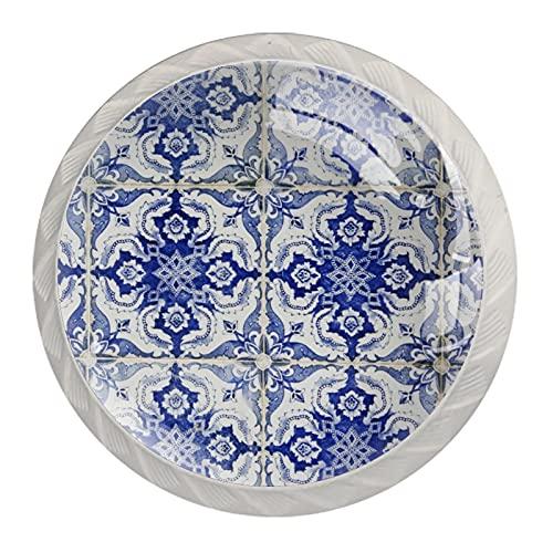 (4 piezas) pomos de cajón para cajones, tiradores de cristal para gabinete, hogar, oficina, armario, azulejos portugueses, pared de 35 mm