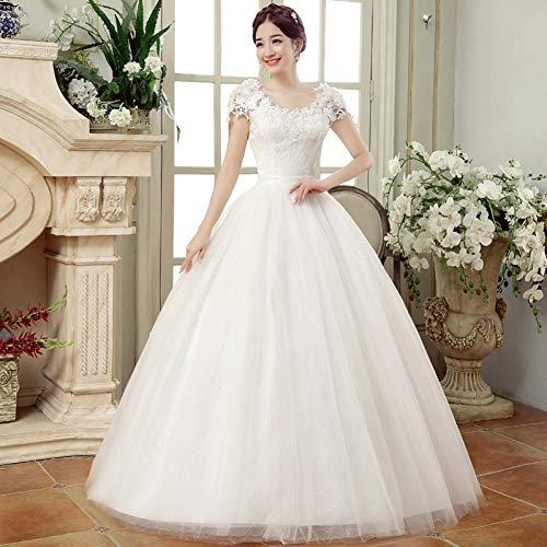 BGGYF Hochzeitskleid Ballkleid Brautkleid Ballkleider Plus Size Günstige weiße Spitze Applikationen Abendkleider Einfache Tüll Schnürung zurück