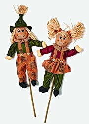 Scarecrows on stakes for outdoors