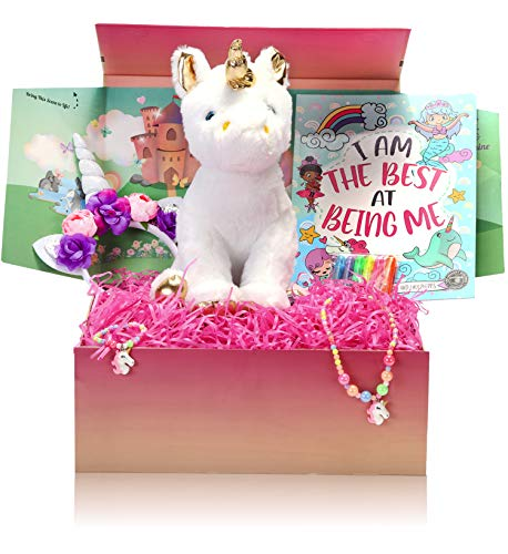 The Memory Building Company Unicorn Gifts for Girls in a Giant Surprise Box with a Unicorn Plush, Unicorn Coloring Book with Coloring Markers, Unicorn Necklace, and Unicorn Headband