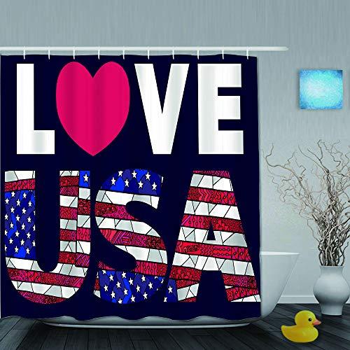 YOLIKA Cortina de Ducha,enredo Colorido título Amor Estados Unidos Americano,Tejido de poliéster - con Gancho,180x210