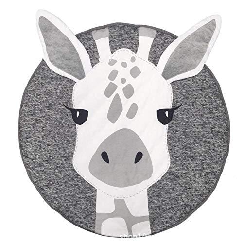 Shoze Round Rug Cartoon Animal Carpet Kids Play Mat Soft Sleeping Mat for Bedroom Living Room Children's Room Decoration Giraffe