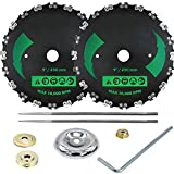 (2pack) 9' x 20T Chainsaw Tooth Brush Blades Green - Weed Eater Saw Blade Kit Replacement for Brush Cutters, String Trimmers, and Weed Wreckers (Adapter Included+2 Round Files)