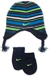 f4ef8e8b318d7 NIKE Baby Boys 12 24 Months Striped Knit Beanie Hat   Mittens Set Navy