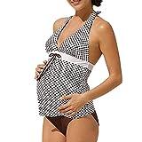 QinMM Traje de baño Mujer Maternidad Premamá para Mujer Rayado Deportes Tankini Bañador de una Pieza Pregnancy Bikini (A, 2XL)