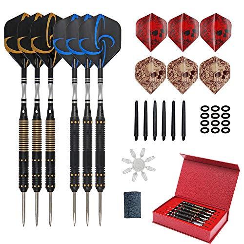 KoolShare Competition Professionelles Dart-Set mit Stahlspitze, 6 x 21 g Messing-Barrels mit Aluminium-Schäften und 2 Dart-Flights + Dart-Schärfer + Geschenkbox
