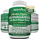 Nutrivein Organic Ashwagandha Capsules 1600mg with Black Pepper Extract - 120 Vegan Pills - 100% Pure Root Powder Supplement - Stress Relief, Anxiety, Immune, Thyroid & Adrenal Support - Mood Enhancer