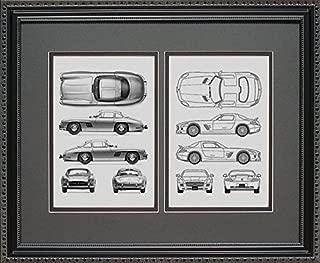 Mercedes Benz #2 Dual Blueprint Framed Art Gift, 16x20