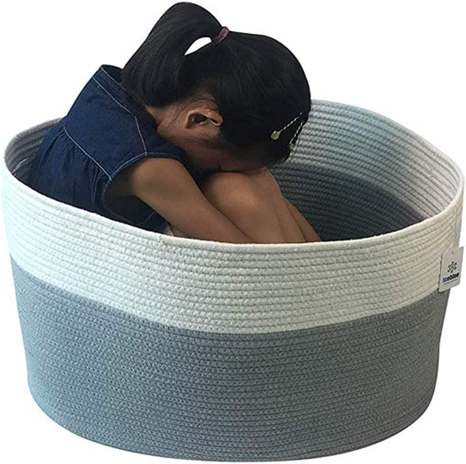 ICEblueE XXXL Jumbo Toy Storage Cotton Rope Basket Hamper with Invisible Handles