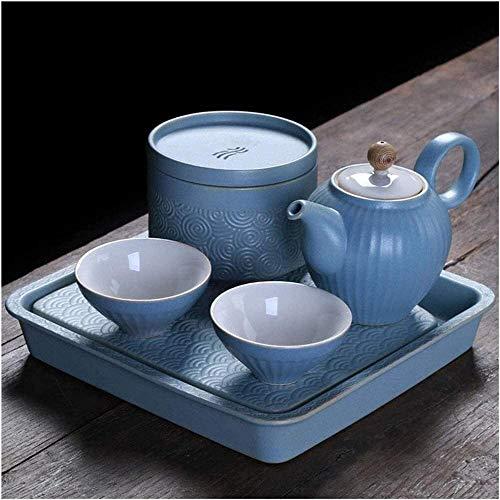 Juego de té Kung Fu, Tetera de viaje de té chino, Juego de té de Kung Fu, Tetera de cerámica, Juego de té para beber, Tetera al aire libre, Juego de té de lujo, Regalo de inauguración de la casa-azul