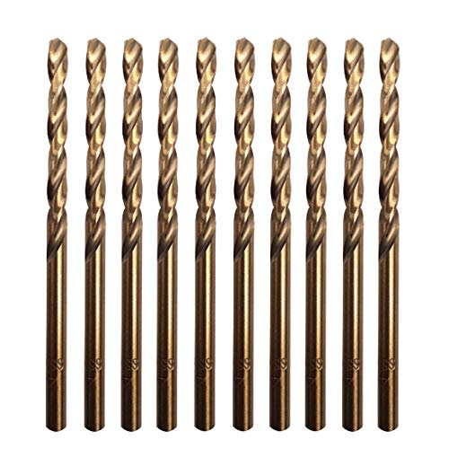 Sipery 10Pcs M35 Cobalt HSS Twist Drill Bits 4mm with Straight Shank, Drilling for Stainless Steel, Copper, Aluminum Alloy and Softer Materials