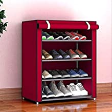 Keekos Multipurpose Portable Folding Shoes Rack 4 Tiers Multi-Purpose Shoe Storage Organizer Cabinet Tower with Iron and Nonwoven Fabric with Zippered Dustproof Cover (Maroon)