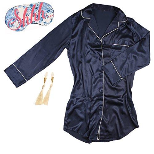 Navy Satin Pajama Gift Set