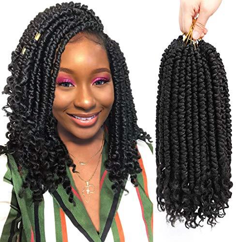 Fayasu 6 Pcs Crochet Hair Extensions Crochet Braid Hair Synthetic Twist Braiding Hair For Black Women Short 12in Spring Twist Crochet Hair Curl End #1B